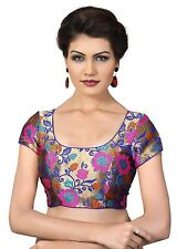 Saris and Things Multi Brocade Fancy Back Open Saree Blouse Choli