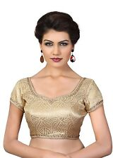 Saris and Things Antic-Gold Brocade Fancy Back Open Saree Blouse Choli