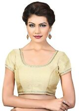Saris and Things Gold Brocade Fancy Back Open Saree Blouse Choli