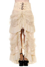 NEW BANNED IVORY STEAMPUNK GOTHIC VICTORIAN LACE LONG SKIRT 8-20