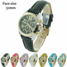 Geneva Ladies Round Chrono Style Roman Numerals Leatherette Fashion Watch 31mm