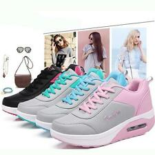New Ladies Lace-Up Sneakers Sport Shoes Thicken Heel Platform Shoe Trainers Q