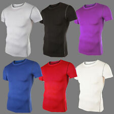 Men's Crew Neck Compression Shirt Under Base Layer Tee Tops Tights Gym T-Shirts