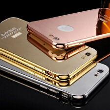 Metal Bumper Mirror / Clear Case Cover Screen Protector for iPhone 6 & Plus 5/5S