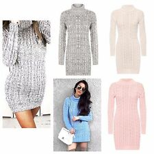 EXCLUSIVE  ladies Long Sleeve Cowl Polo Neck Cable Knitted Jumper Dress Top 8-14