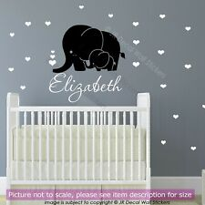 Elephant Wall Stickers Vinyl Personalised Kid's Name heart shaped Art Wall Decal