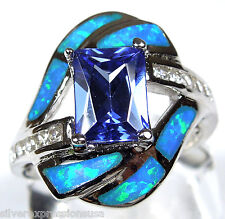1.75 Carats Tanzanite & Blue Fire Opal Inlay 925 Sterling Silver Ring Size 6-9