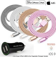 AU BRAIDED Lightning USB Metal Sync Charger Cable Iphone Apple 7 6s 6 plus Ipod