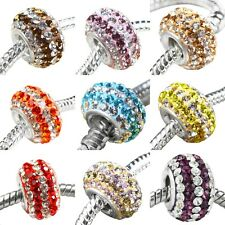 Multicolor Striped Crystal Czech 925 Sterling Silver Core European Charms Bead