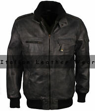 80's Army Bomber Style Men's Genuine Leather Fashion Jacket Vintage Winter Sale