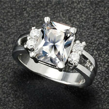 Women's Gold Plated Square Rhinestone Engagement Wedding Jewelry Ring Engaging