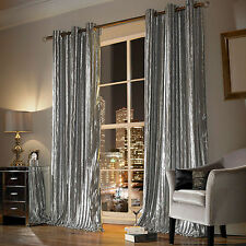 Iliana Silver Eyelet Ring Top Lined Curtains By Kylie Minogue Velvet Velour NEW