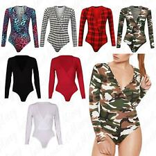 Womens Ladies Cross Wrap Over V Neck Plunge Printed Leotard Bodysuit Top 8-22