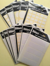 Sticky Blank White Plain Labels (2 PACKS) Self Adhesive Address Labels Stickers