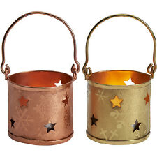 Set of 3 Mini Tea Light Holders Vintage Christmas Stars 2 Colours Copper / Brass