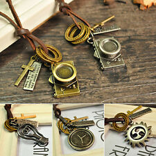 Men Women Leather Rope Anchor Leaf Shoe Key Ring Pendant Cord Necklace Engaging