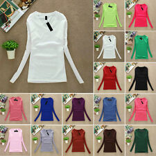 Fashion Women Casual Slim Solid Color V-Neck Long Sleeve Autumn T-Shirt Tops Tee
