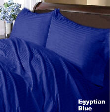 EGYPTIAN BLUE STRIPED - 4PC SHEET SET / 3PC DUVET SET 1000TC *EGYPTIAN COTTON