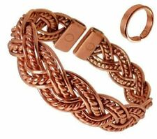 Richly Coloured Magnetic Copper Twisted Plait Bracelet with Smooth Effect Magnet