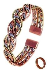 Magnetic Three Colour Twist Bracelet with Etched-0n Lines design Copper Magnetic