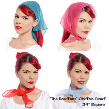 "Sheer Chiffon Scarf - The Bouffant - 24"" Square Solid Colors - Hey Viv 50 Style"
