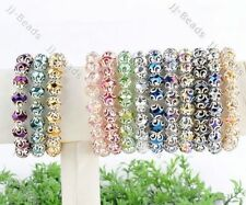 1x Crystal Glass Faceted Flower Wrap Bead Stretchy Bangle Bracelet Women Jewelry