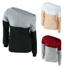 New Women Long Sleeve Off Shoulder Top Lady Multicolor Thin Knit Jumper Sweater