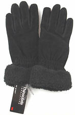 Jaclyn Smith Leather Plush Fur Suede Gloves 3M 40g Thinsulate Black Driving NEW