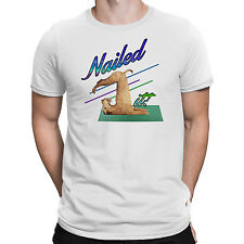 Nailed It Mens Tee Funny Yoga Dog Spoof Parody T-shirt White, Grey S-3XL