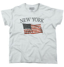 New York Patriotic Home State American USA T Shirt Flag Gift Ladies T Shirt