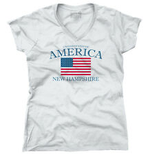 New Hampshire State Patriotic Gift Ideas American USA T Shirt Junior V-Neck Tee