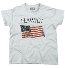 Hawaii Patriotic Home State American USA T Shirt Flag Gift Ladies T Shirt