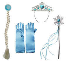 Frozen Princess Elsa Inspired Fancy Dress Accessories set Gloves/Wand/Hair/Tiara