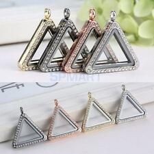 Crystal Living Memory Floating Charms Glass Triangle Locket Pendant Necklace
