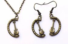 Guitar Necklace Earrings Music Instrument Retro Jewelry Antique Bronze Handmade