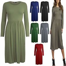 Ladies Plain Gathered Swing Flared Skater Dress Womens Evening Party Top 8-26