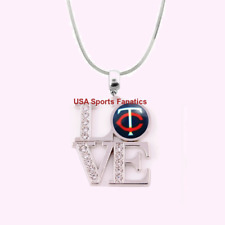MLB Minnesota Twins 925 Sterling Silver Team Love Necklace With Rhinestones
