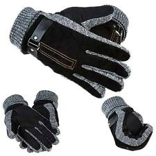 New Men Winter Warm Gloves Leather Velvet Thermal Thicken Driving Skiing Mittens