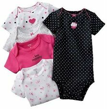 NWT Carters Baby Girl Clothes 5 Onies Bodysuits Blue Pink Print 6  Months