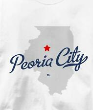 Peoria City, Illinois IL MAP Souvenir T Shirt All Sizes & Colors