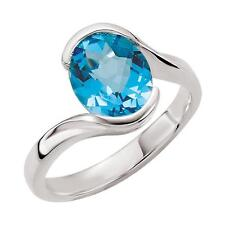 Checkerboard Swiss Blue Topaz Bypass Ring Sterling Silver