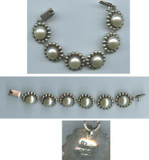 Beautiful vintage faux pearl and sterling silver bracelet Mexico