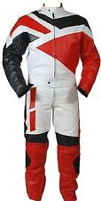 2pc Motorcycle Riding Racing Track Suit all Leather w/ Padding Drag Suit New Red
