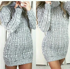 Womens Cowl Polo Neck Cable Knitted ladies long sleeve grey Jumper Dress 8-14
