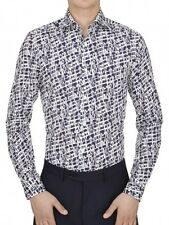 DUCHAMP LONDON Graphic Blocks Navy/White Print Shirt. Various Sizes. RRP £145.