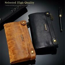 Luxury Deluxe Genuine Leather Zipper Wallet Purse Packet Card Holder Phone Pouch