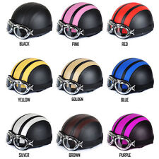 Leather Half Open Face Motorcycle Helmet New Scooter Sun Visor With Goggles