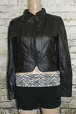 Black Genuine Leather Fitted Jacket Short Cropped Lamb Size S 36 Chest