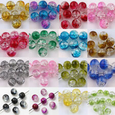 Wholesale Glass Mixed Round Crackle Crystal Charms Beads Jewelry Making 6/8/10MM