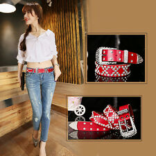 Ladies Studded Western Crystal Berry Rhinestone Bling Cowgirl Leather Belt